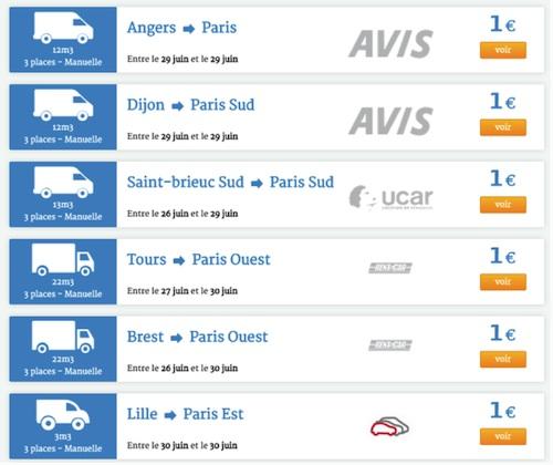 location de véhicule utilitaire à 1 euro